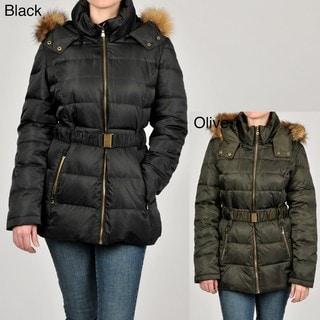 Jones New York Women's Faux Fur Trimmed Belted Down Hooded Coat