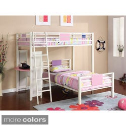 Furniture of America YoYo Twin/ Twin Loft Bunk Bed w/ 2 Twin Size Mattresses