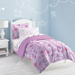 Stars and Crowns 5-piece Twin-size Bed in a Bag with Sheet Set