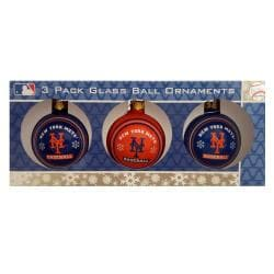 New York Mets Glass Ornaments (Pack of 3)