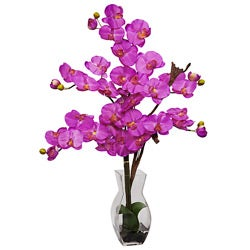 Phalaenopsis with Vase Silk Flower Arrangement