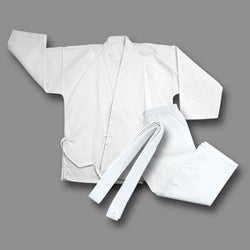 White Lightweight Cotton-blend Karate Uniform Set (Size One)