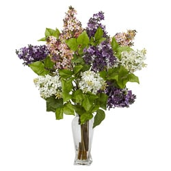 Lilac with Vase Silk Flower Arrangement