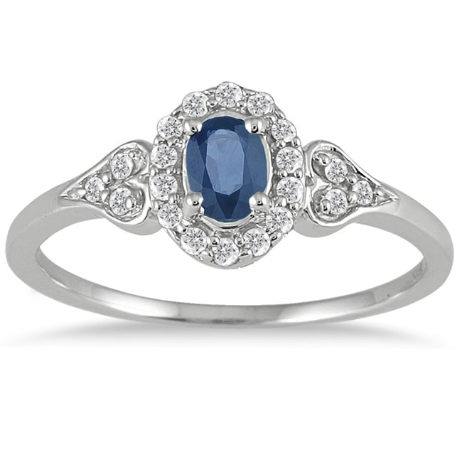 Marquee Jewels 10k White Gold Sapphire and 1/6ct TDW Diamond Ring (I-J, I1-I2)
