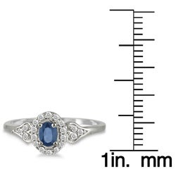 10k White Gold Sapphire and 1/6ct TDW Diamond Ring (I-J, I1-I2)