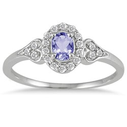10k White Gold Tanzanite and 1/6ct TDW Diamond Ring (I-J, I1-I2)