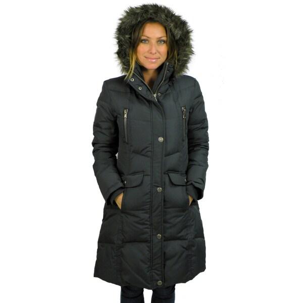 Ellabee Women's Black Deluxe Faux Fur Hooded Down-blend Coat