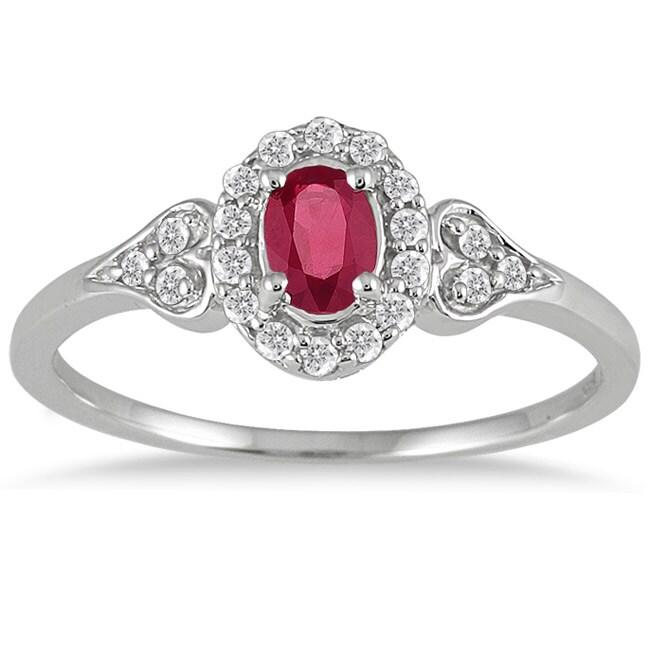 10k White Gold Ruby and 1/6ct TDW Diamond Ring (I-J, I1-I2)