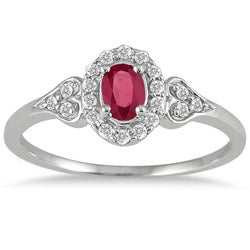 10k White Gold Ruby and 1/6ct TDW Diamond Ring (I-J, I1-I2)