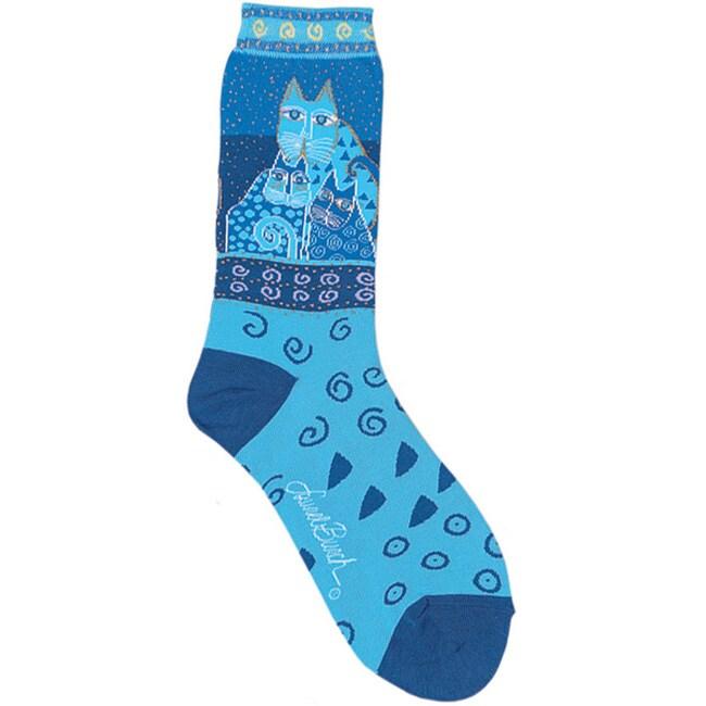 Laurel Burch Women's Blue Felines Socks