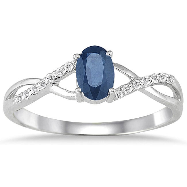 Marquee Jewels 10k White Gold Sapphire and 1/10ct TDW Diamond Ring (I-J, I1-I2)