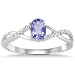 10k White Gold Tanzanite and 1/10ct TDW Diamond Ring (I-J, I1-I2)