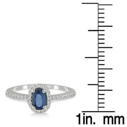 10k White Gold Sapphire and 1/5ct TDW Diamond Ring (I-J, I1-I2)