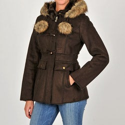Esprit Juniors Faux Suede Faux Fur-trimmed Hooded Toggle Jacket
