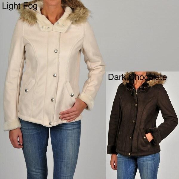 Esprit Juniors Faux Suede Faux Fur-trimmed Hooded Jacket