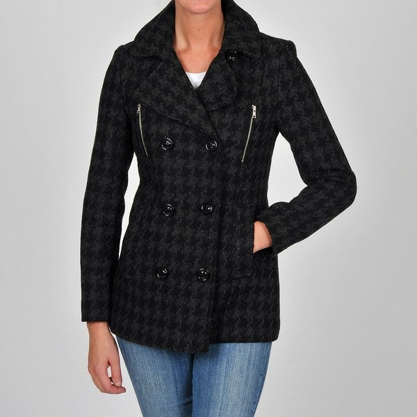 Esprit Women's Charcoal Fancy Double-breasted Wool-blend Coat