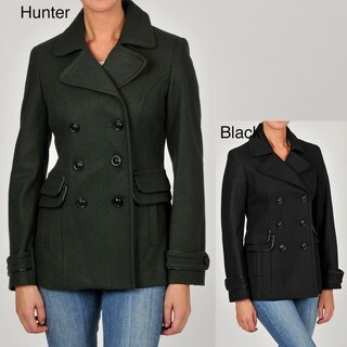 Esprit Women's Double-breasted Wool-blend Peacoat