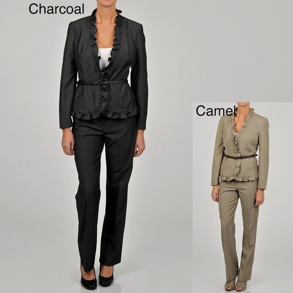 Sharagano Women's Ruffled Denim Belted Pant Suit