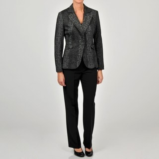 Sharagano Women's Snakeskin Jacket Pant Suit
