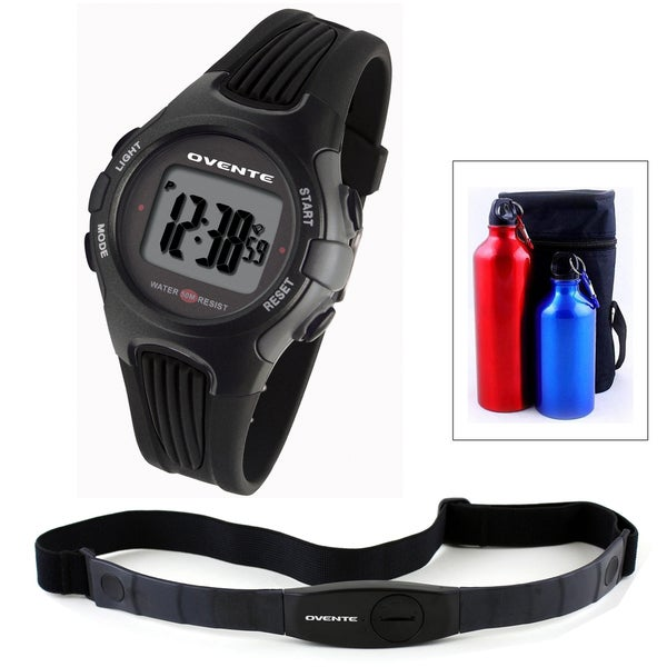 Ovente BHS6000 Heart Rate Monitor with Chest Strap (Beatech Collection) and Aluminum Camping Bottle Set