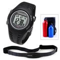 Ovente BHS7000 Heart Rate Monitor with Chest Strap (Beatech Collection) and Aluminum Camping Bottle Set