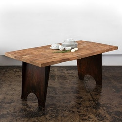 Steel Base Teak Wood Top Dining Table (India)