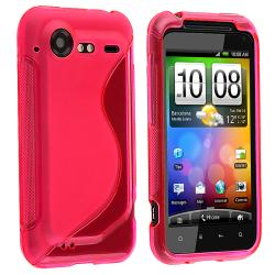 Hot Pink TPU Rubber Skin Case for HTC Droid Incredible 2/ S