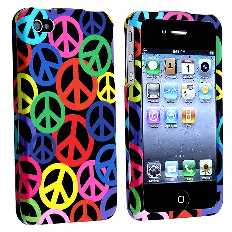 Black Rainbow Peace Sign Case for Apple iPhone 4