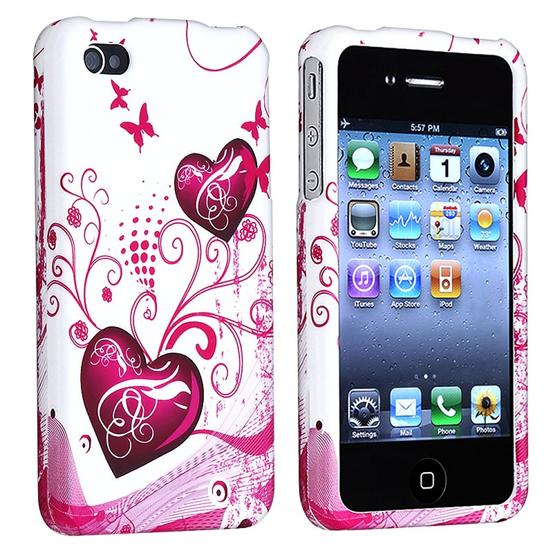 INSTEN Pink Heart Phone Case Cover for Apple iPhone 4