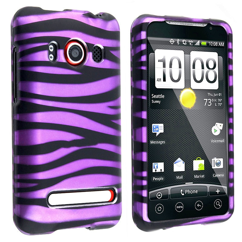 INSTEN Purple Black Zebra Protective Phone Case Cover for HTC EVO 4G Supersonic
