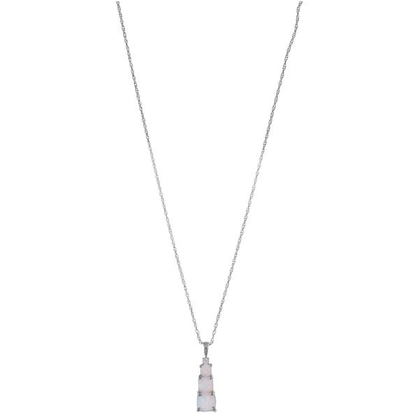 Sterling Silver Created Opal Journey Necklace