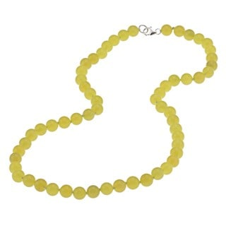 Sterling Silver Lemon Jade Bead 20-inch Necklace