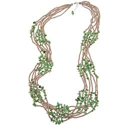 Sterling Silver Green Magnesite Bead 7-strand 20-inch Necklace