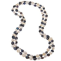 White and Purple Baroque Freshwater Pearl 60-inch Endless Necklace (6-8 mm)