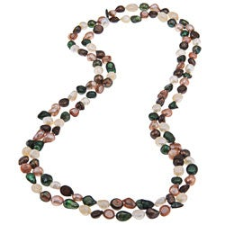 Multicolored Classic Baroque Freshwater Pearl 60-inch Endless Necklace (6-8 mm)