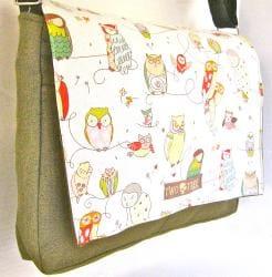 Two Tree Designs White Hoot Owl Messenger Bag
