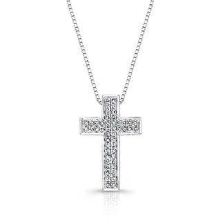 Auriya 14k White Gold 1/4ct TDW Diamond Cross Necklace (G-H, I1-I2)