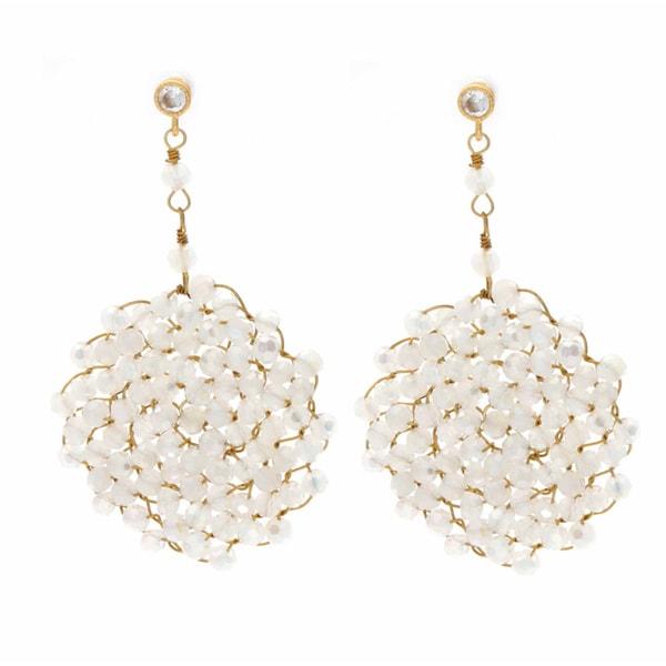 NEXTE Jewelry Goldtone Genuine Opal Swirling Cyclone Earrings
