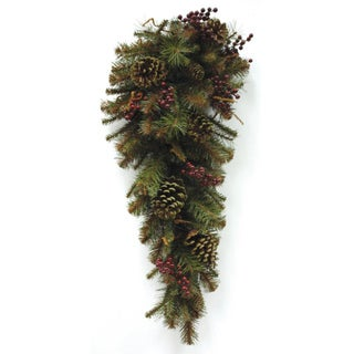 Good Tidings 30-inch Surrey Woods Teardrop with Pine Cones and Berries