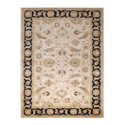 Hand-tufted Beige and Black Wool Area Rug (9' x 12')