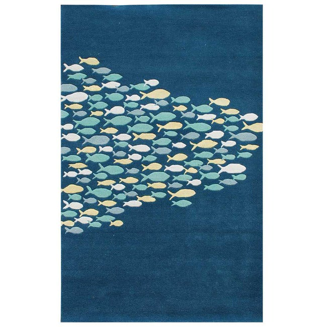 Hand-tufted Blue Wool Rug (8' x 11')