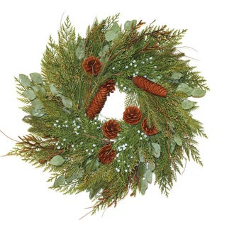 Good Tidings Wreath Mixed Cedar and Juniper with Cones