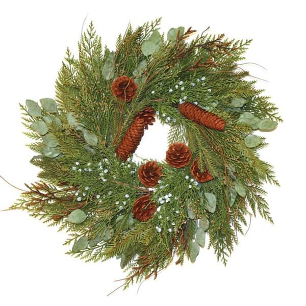Good Tidings Wreath Mixed Cedar and Juniper with Cones