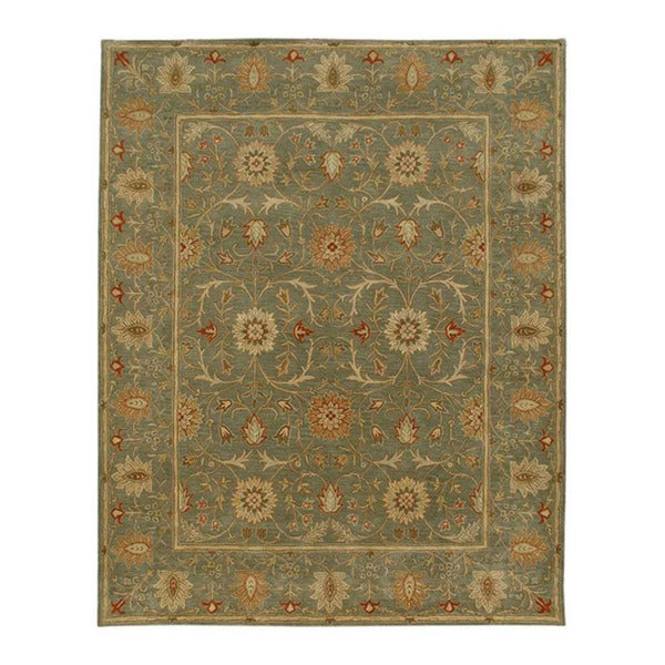 Hand-tufted Green/ Brown Wool Rug (5' x 8')