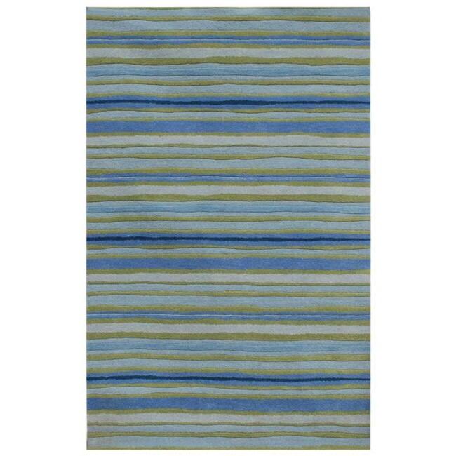 Hand-tufted Blue Stripe Wool Rug (5' X 8')
