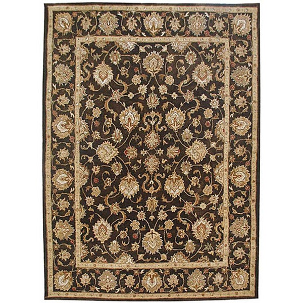 Hand-tufted Martial Brown Wool Rug (5' x 8')