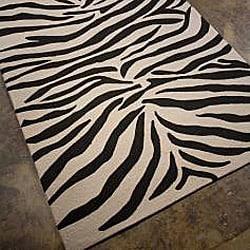 Hand-hooked Animal Print Rug (5' x 7'6)