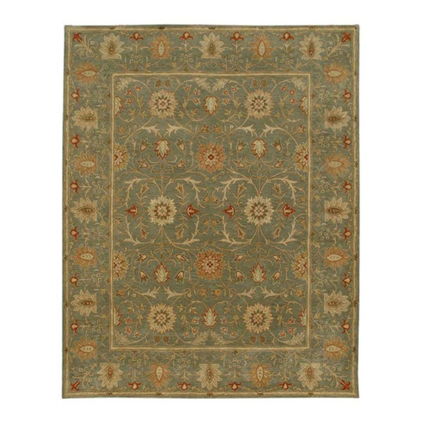 Hand-tufted Green Floral Wool Rug (8' x 11')