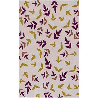 Hand-hooked Abstract Beige Rug (5' x 7'6)
