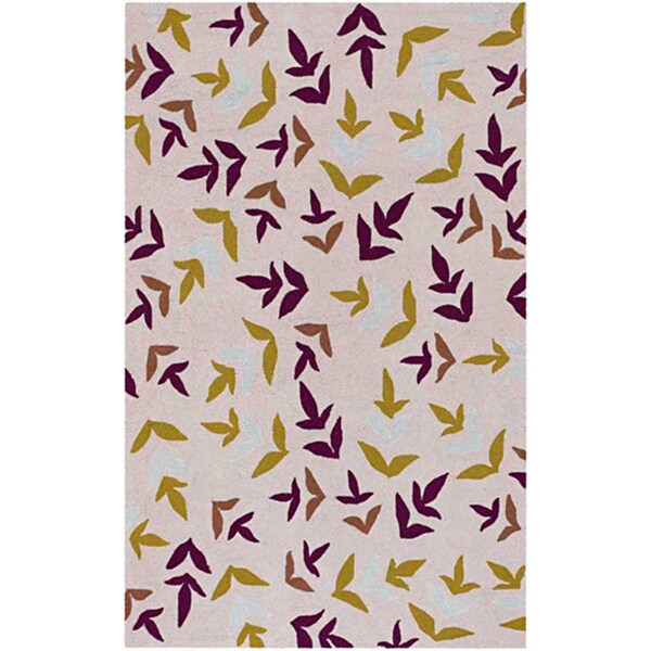 Hand-hooked Abstract Beige Rug (7'6 x 9'6)